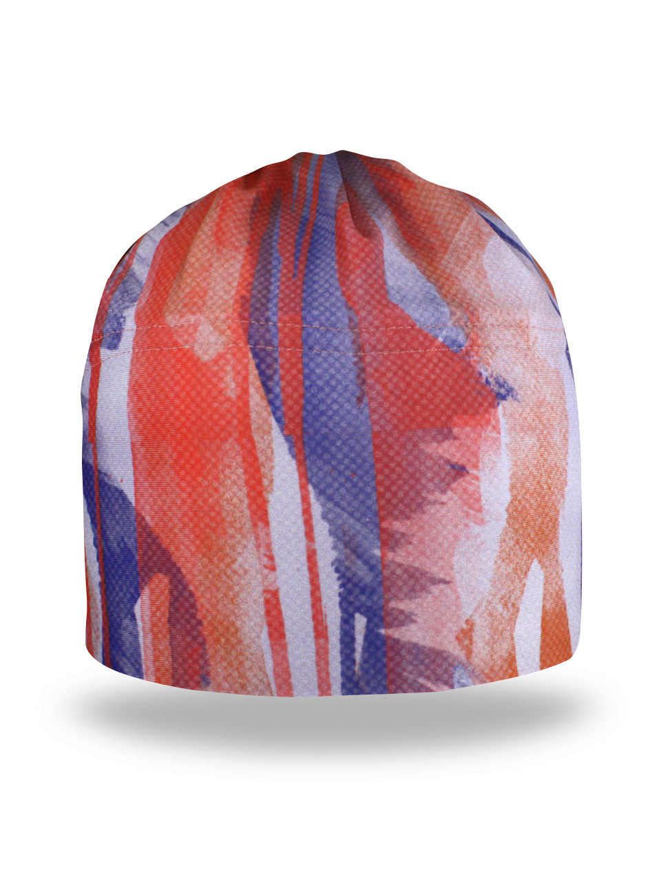fleece lined winter hat with peach, coral and blue streaks