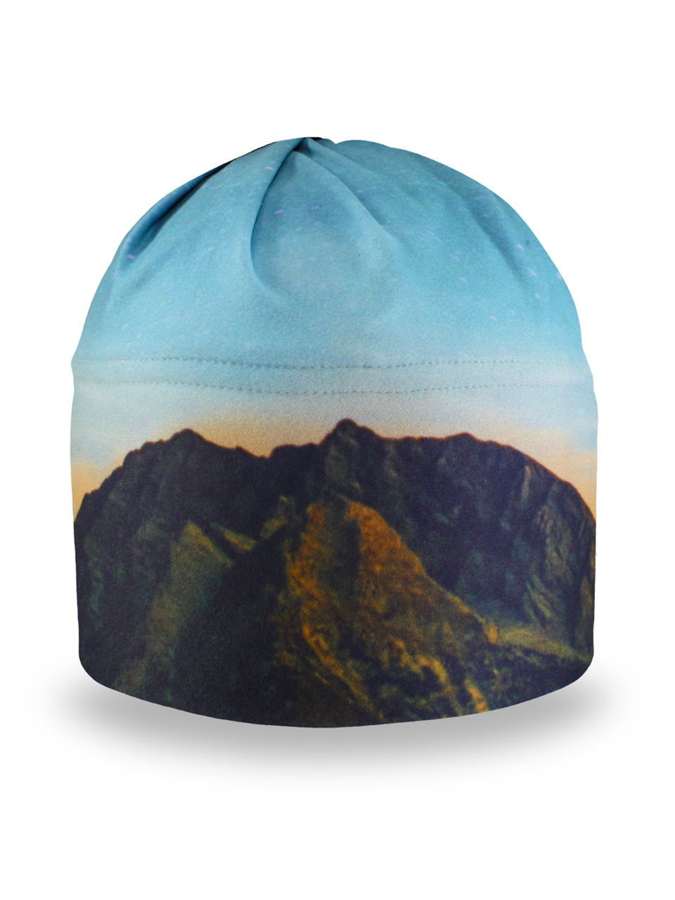 winter hat that features a sunset colored sky and mountain