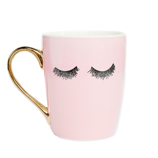 Pink Eyelashes Gold Coffee Mug - Coffee Before Wine