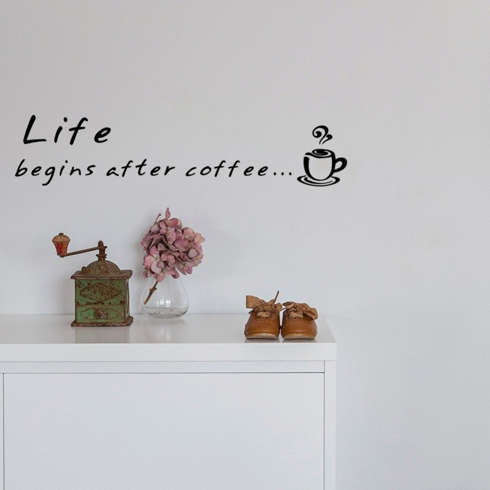 Life Begins After Coffee Quote Wall Decor Sticker Vinyl Decal - Coffee Before Wine