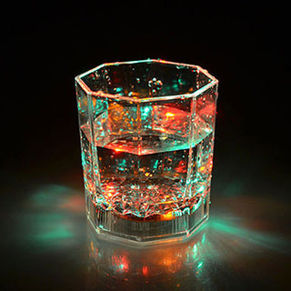 Flashing Octagonal LED  Plastic  Wine Glass - Coffee Before Wine