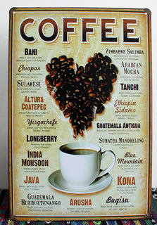 Retro metal painting coffee wall art - Coffee Before Wine