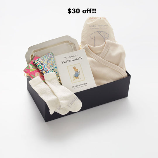 This is a favourite Gift Box. Celebrating the newest love in your life, as baby is brought home.  We created this special gift with a selection of the most natural and beautiful gifts we could find.