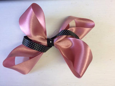 Pink and Black 1 layered Bow