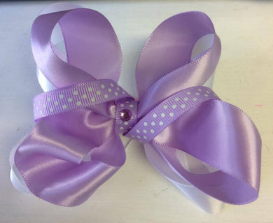 White and Purple 3 Layered Bow