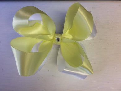 White and yellow 2 layered Bow