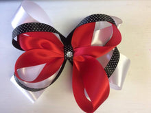 Red, White and Black 3 layer Bow