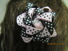 Pink and black Polka Dot Loop Bow