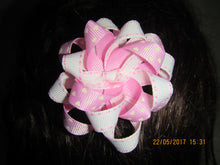 Pink Heart and White Loop Bow