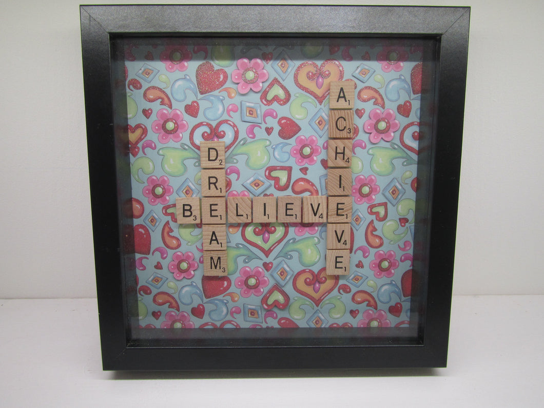 Handcrafted Picture - Dream, Believe, Achieve in scrabble letters