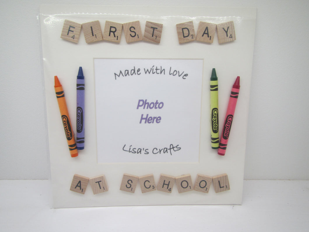 Handcrafted scrabble Picture - First Day at School