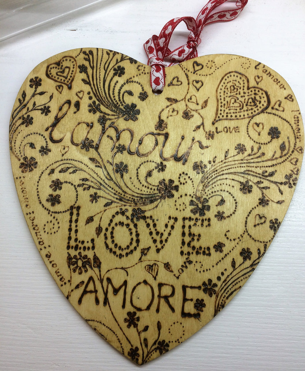 Wooden Heart with Pyrography words L'amore, love and amore