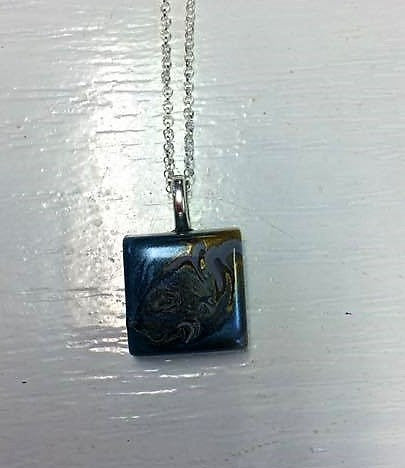 Blue and Gold Resin pendant handmade 925 Silver Chain