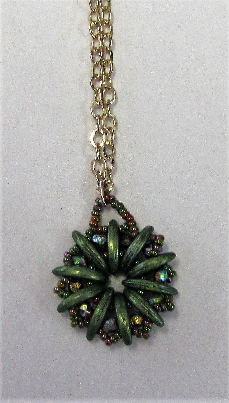 Handcrafted green beaded flower pendant on gold plated necklace