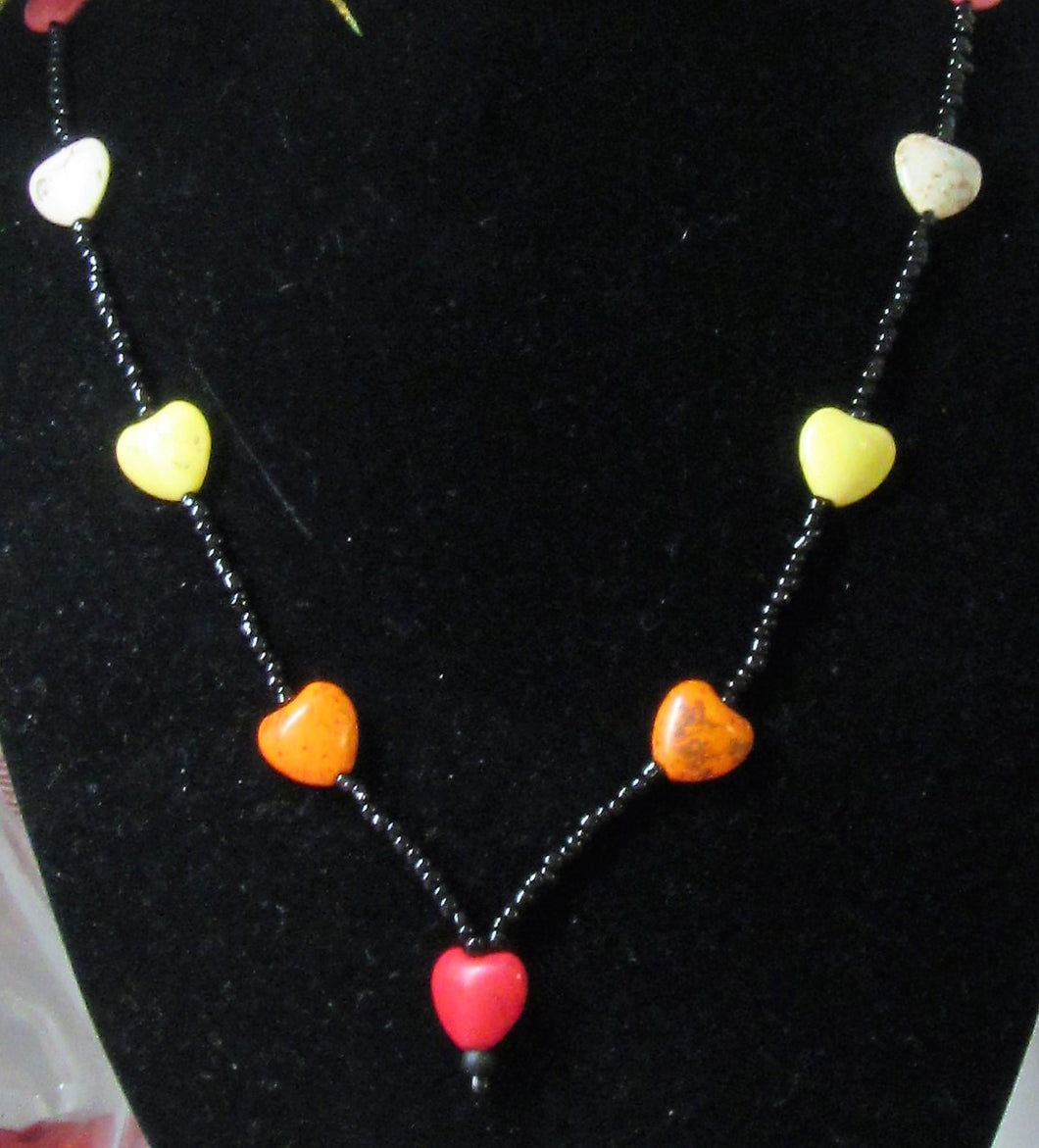 Beautiful handcrafted howlite heart beaded necklace