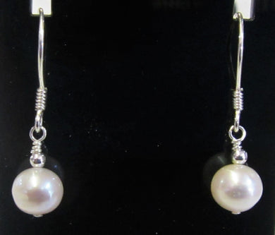 Hand crafted sterling silver with freshwater cultured pearl earrings