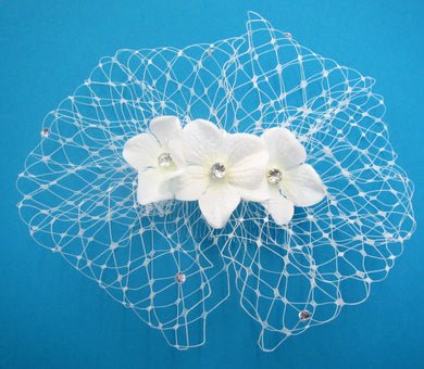 Handcrafted bridal hair piece slide white diamante netted with flowers with diamante centre