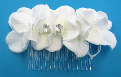 Handcrafted bridal hair piece slide with 7 flowers with diamante centres