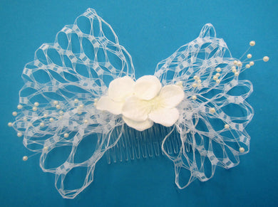 Handcrafted bridal hair piece slide white net with flowers and pearls