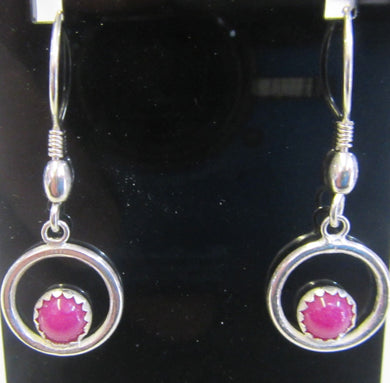 Hand crafted sterling silver and pink jade circle earrings