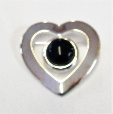 Beautiful handcrafted silver plated heart brooch with various precious stones