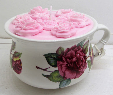 Handcrafted beautiful flower pot with pink candle