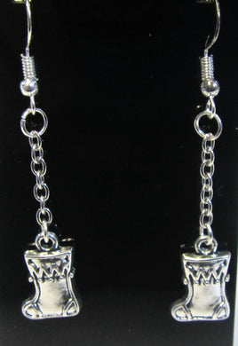 Handcrafted Christmas stocking earrings on silver plated hooks