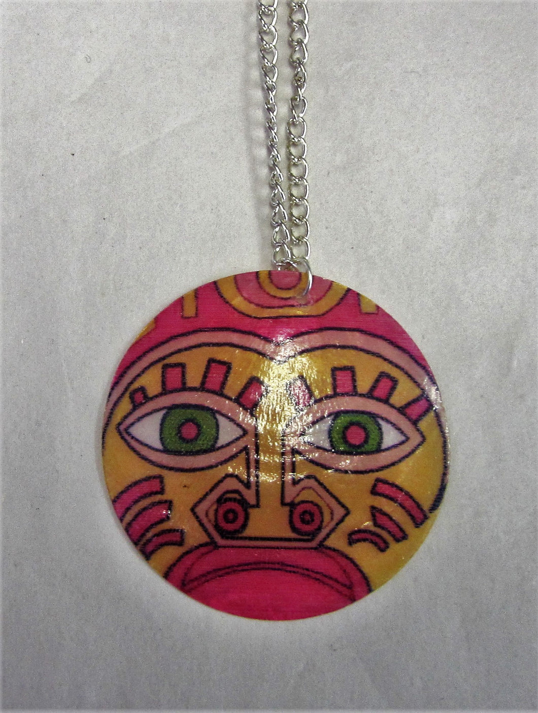 Fun face pendent on sterling silver necklace