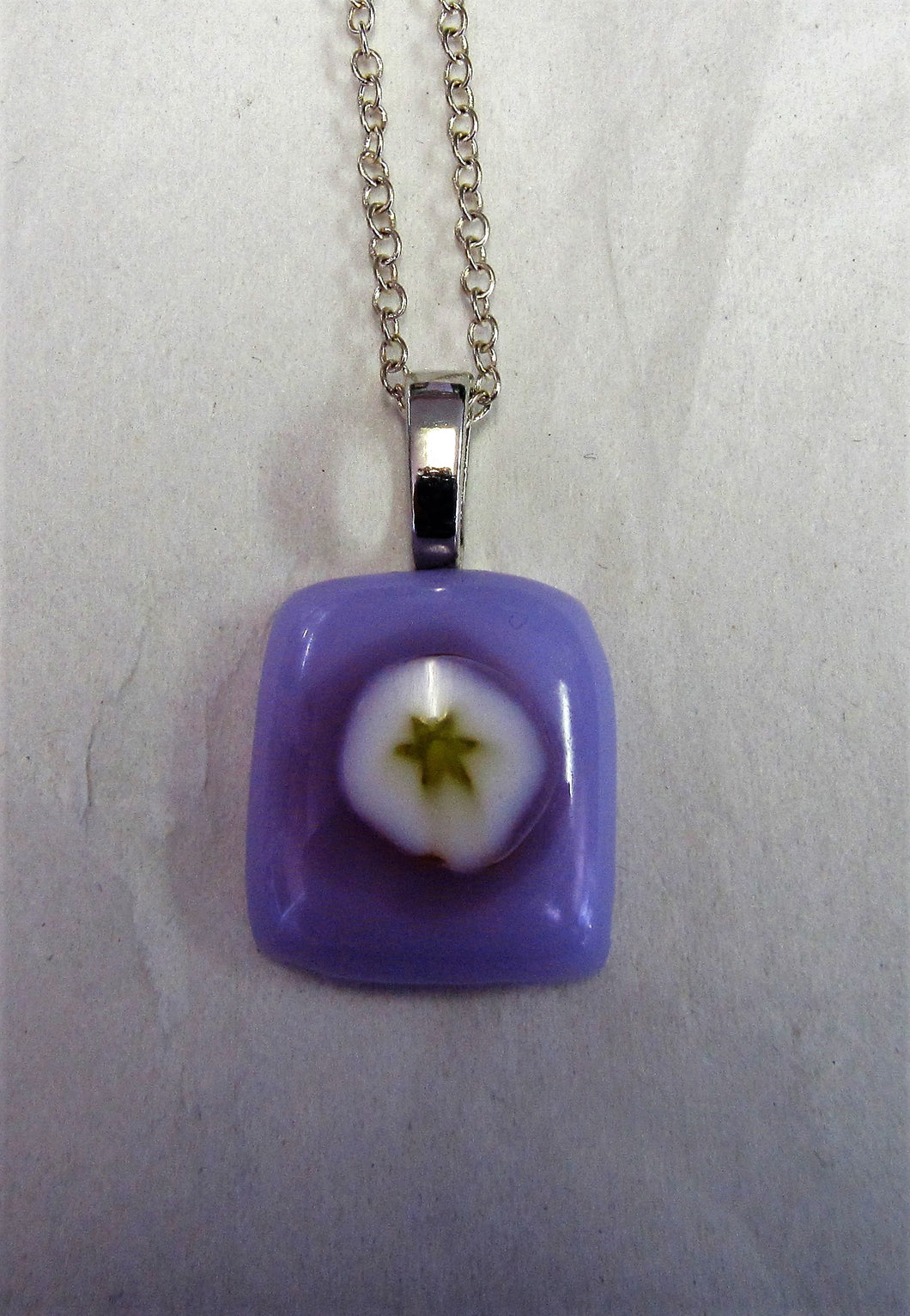 Handcrafted fused glass lilac glass pendant on sterling silver necklace