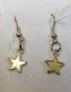 Handcrafted star earrings on silver plated hooks