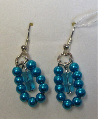 Handcrafted Blue beaded earrings on silver plated hooks