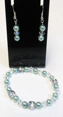 Handcrafted blue pearl bracelet and earring set on silver plated hooks