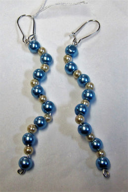 Handcrafted beautiful blue and mink pearl earrings on silver plated hooks