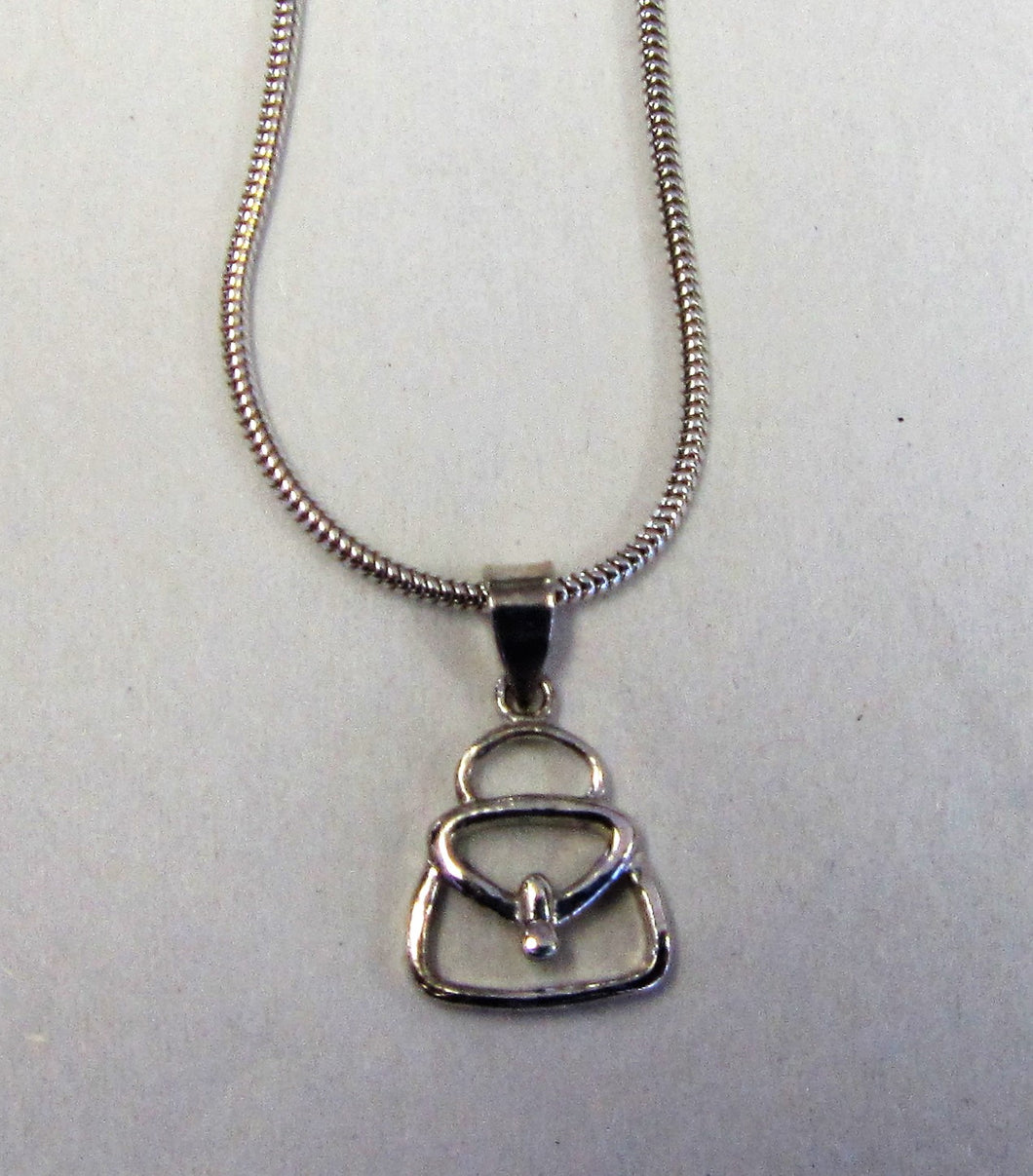 Handbag Silver pendent on sterling silver necklace