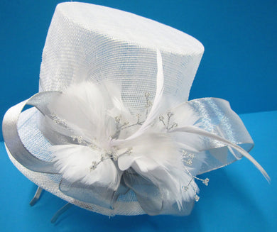Handcrafted white bridal top hat fascinator with silver band and feathers on a hair band