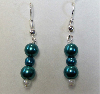 Handcrafted  blue pearl earrings on silver plated hooks