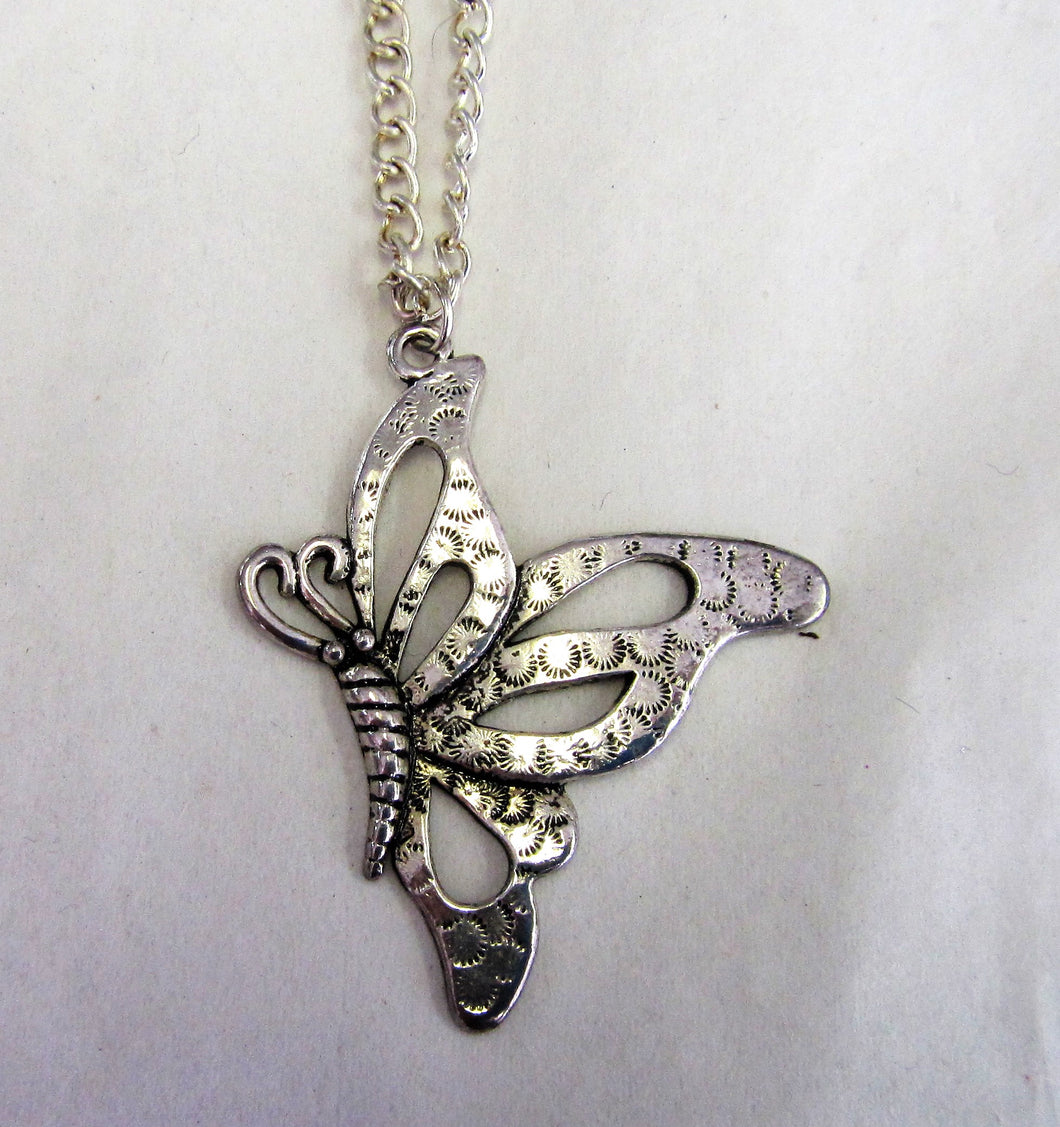 Butterfly pendant on sterling silver necklace