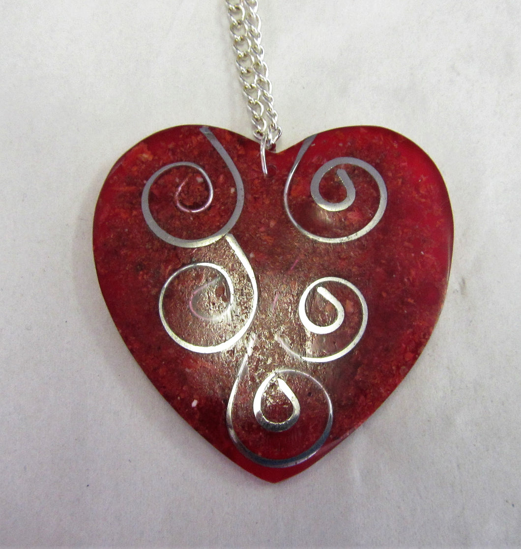 Red and silver heart pendent on sterling silver necklace