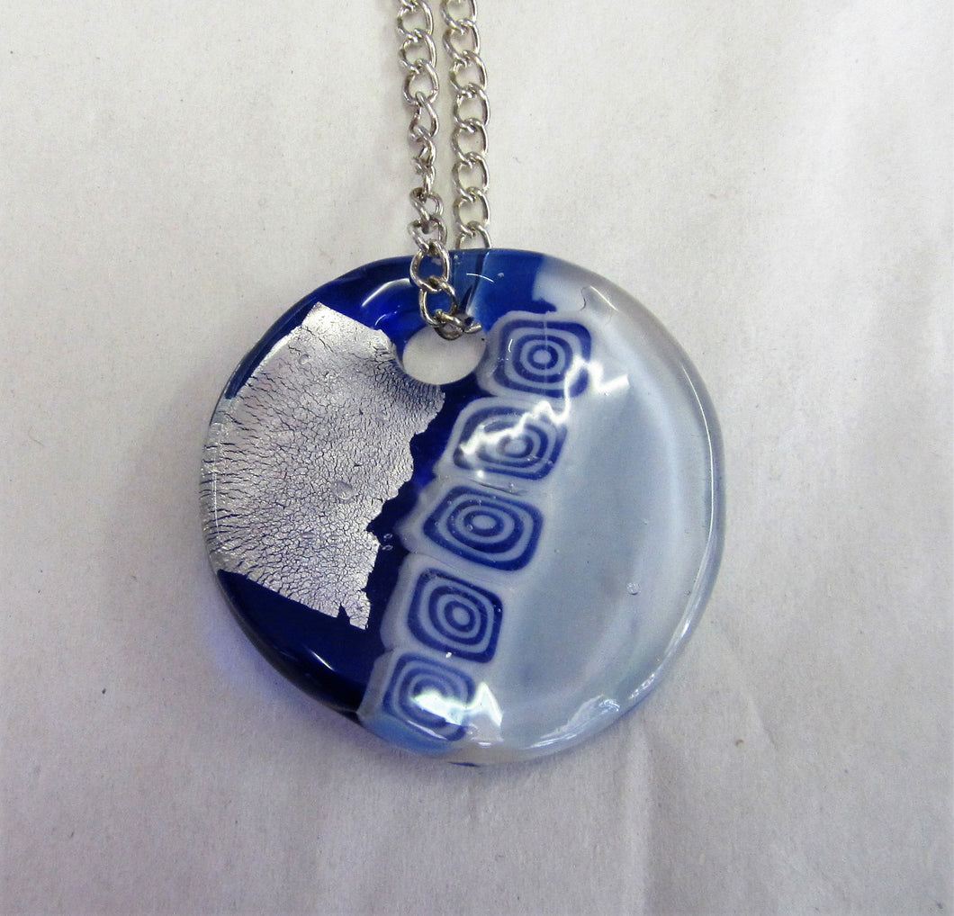 Blue, silver and white glass pendent on sterling silver necklace