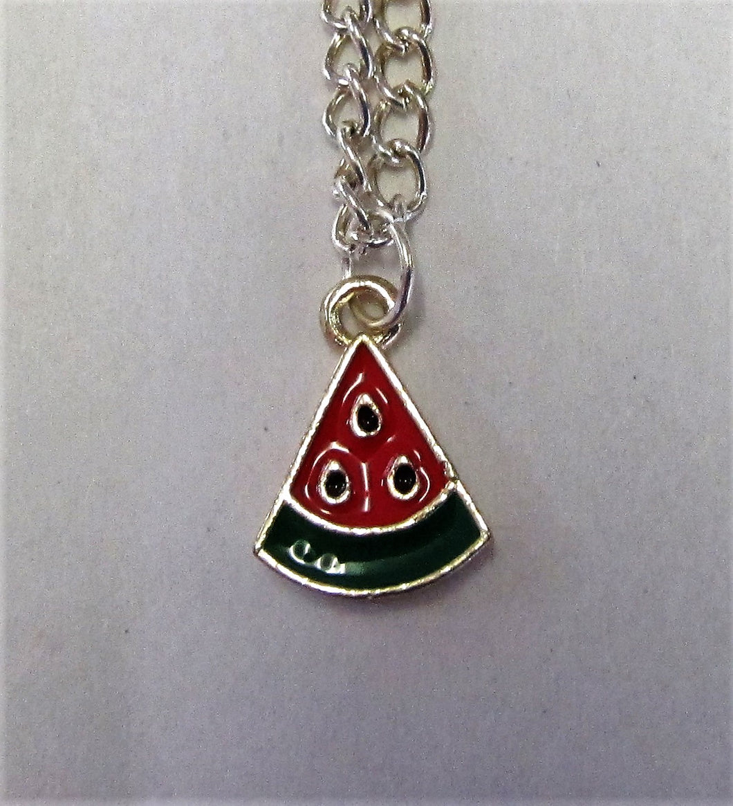 Watermelon pendent on sterling silver necklace