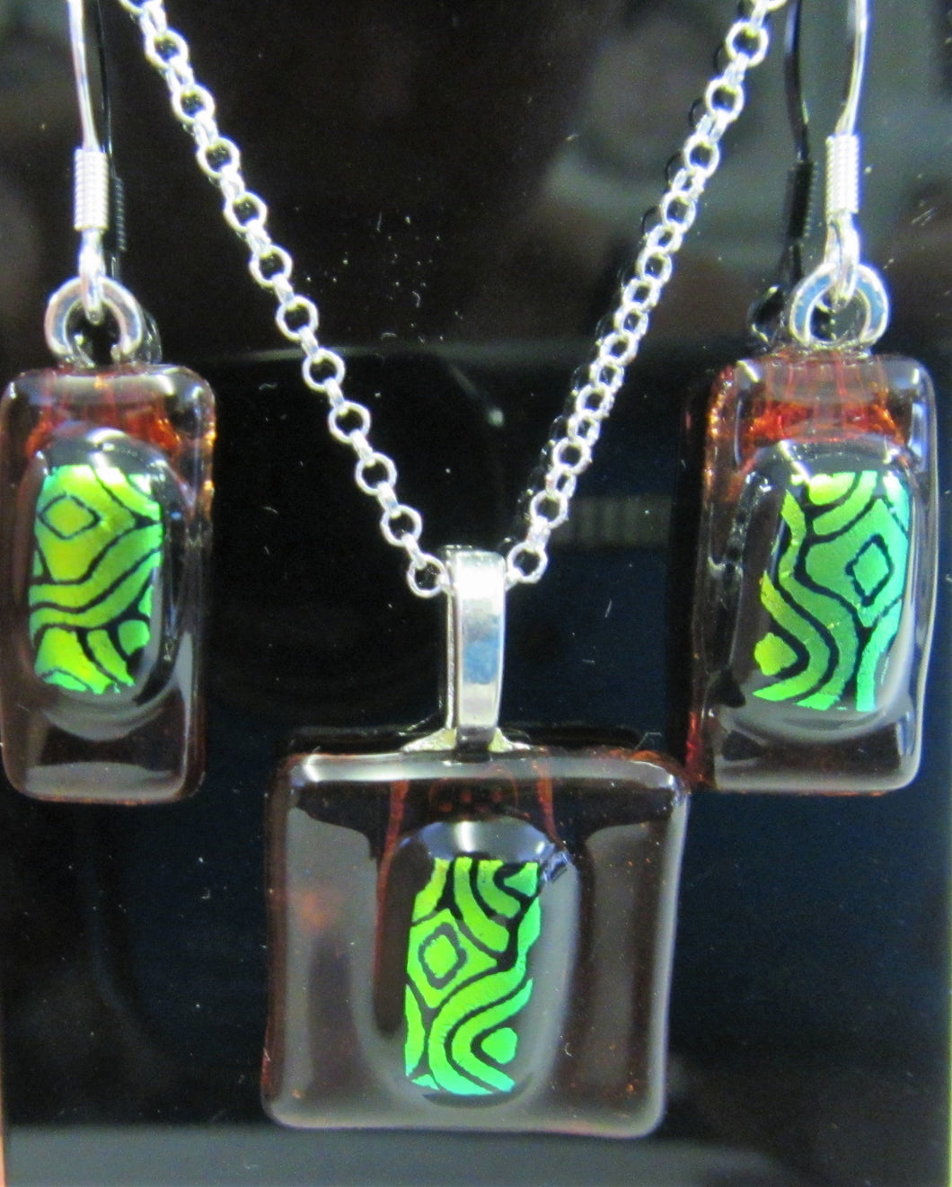 Handcrafted fused bronze and green dichroic glass necklace and earring set