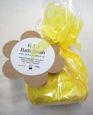 Handcrafted G&T scented bath bomb gift wrapped