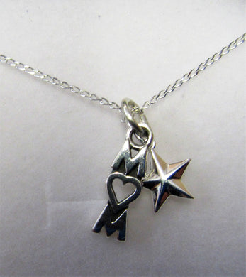 Beautiful handcrafted sterling silver necklace with Mum and star charm
