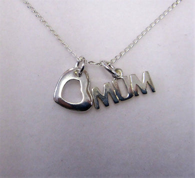 Beautiful handcrafted sterling silver necklace with Mum and heart charm