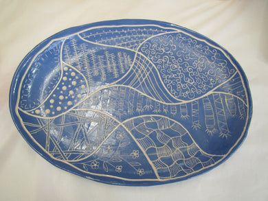 Handcrafted blue patterned ceramic platter