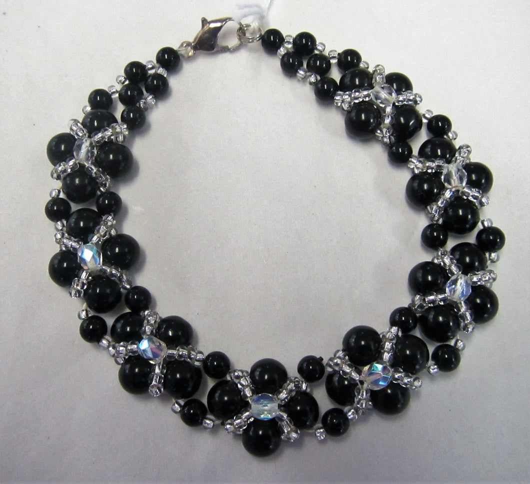 Beaded bracelet - Beautiful handcrafted with black and clear beads