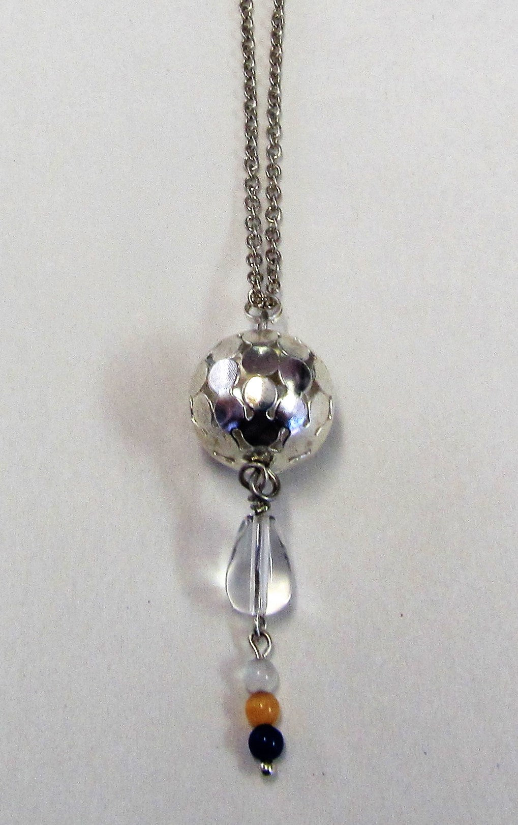 Handcrafted silver plated ball pendant with beads on silver plated chain necklace
