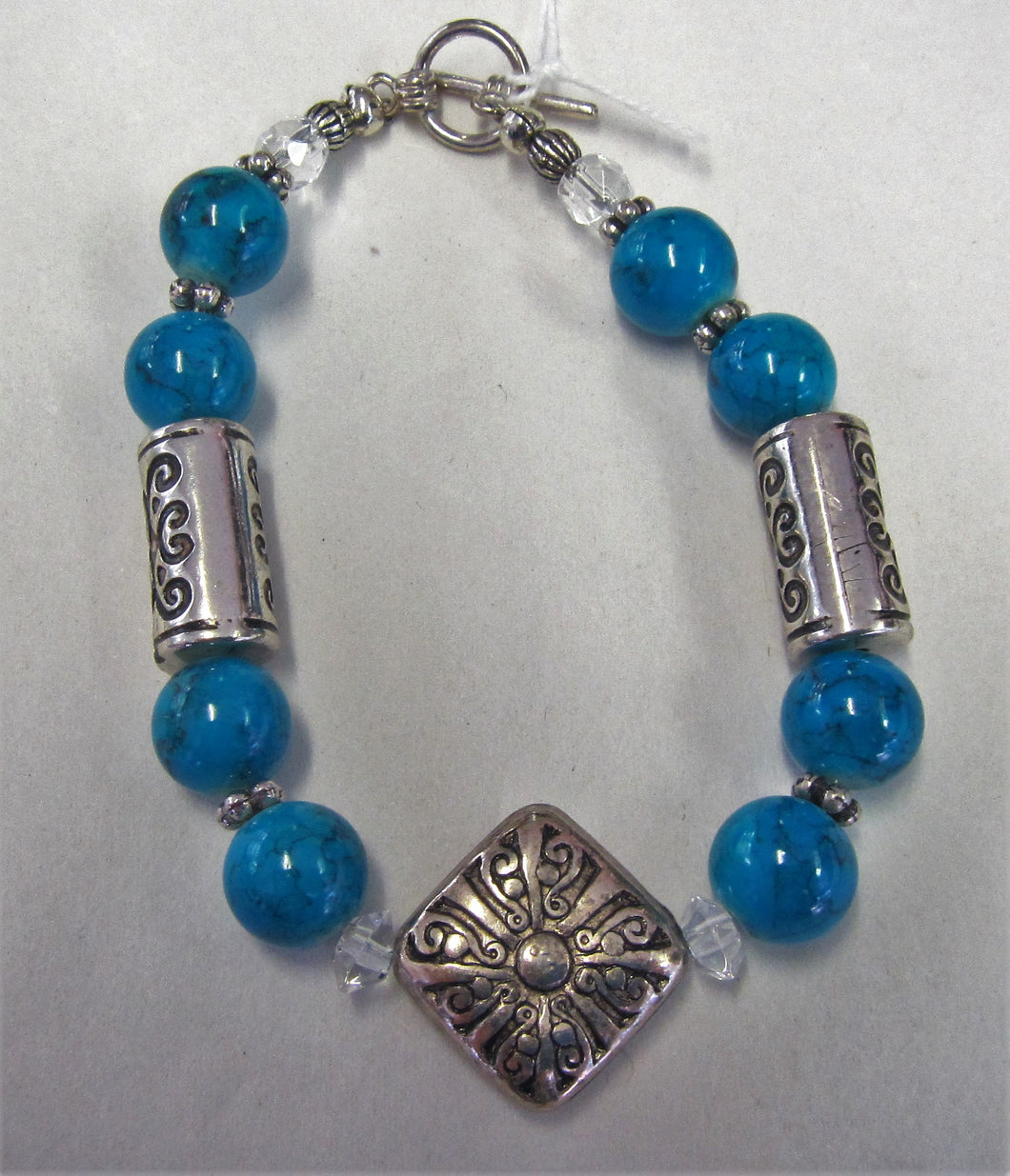Beaded bracelet - Beautiful handcrafted bracelet with blue and silver patterned beads