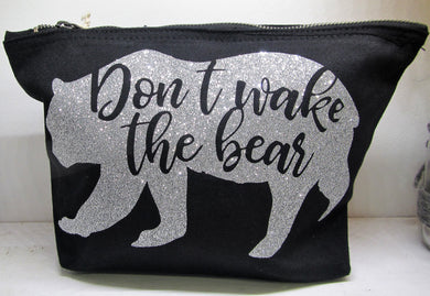 Handcrafted large Don't wake the bear pencil case