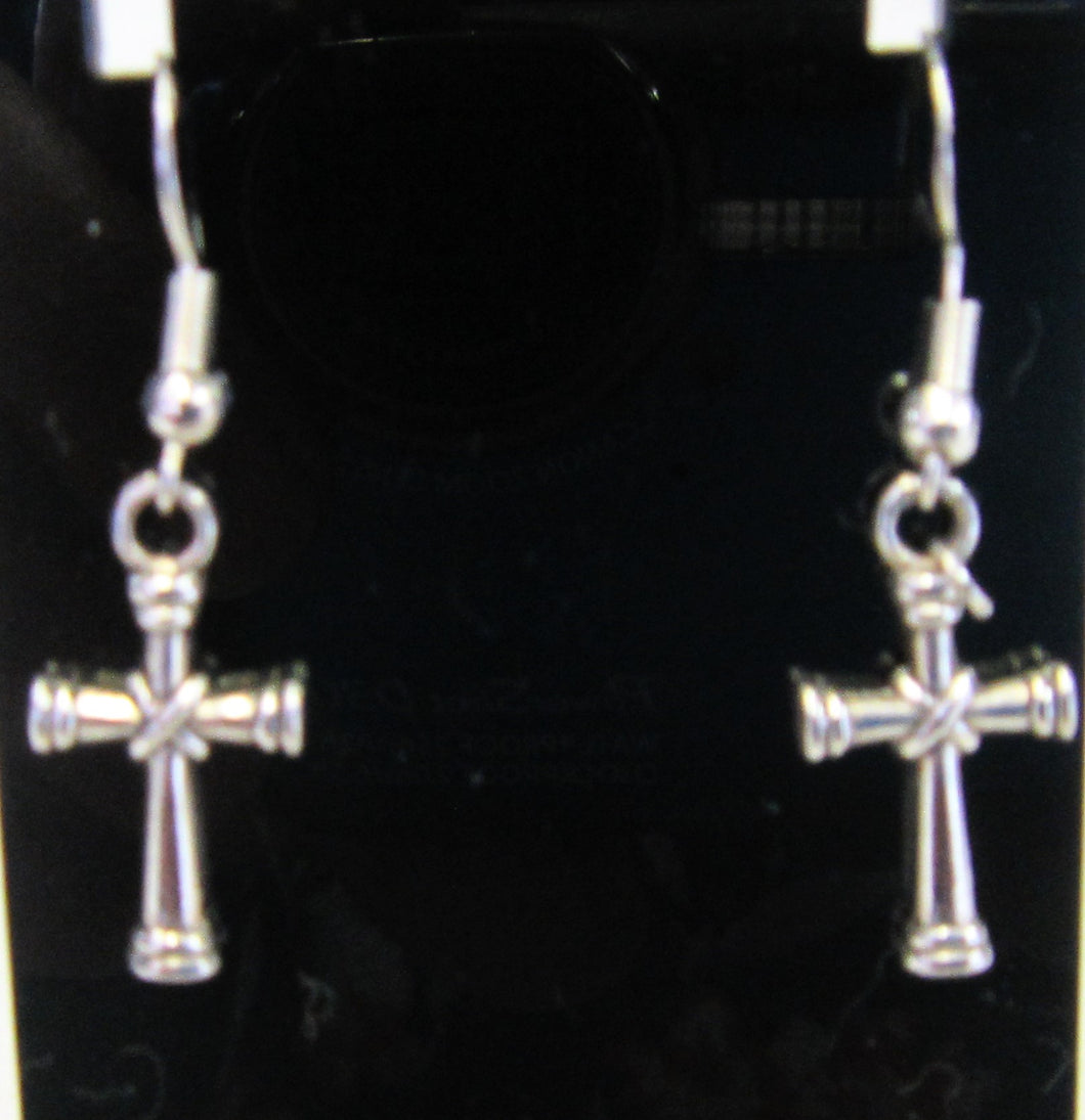 Handcrafted cross earrings on 925 sterling silver hooks